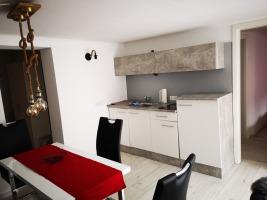 Appartement: Essbereich und Küchezeile samt Zugang zum Separè